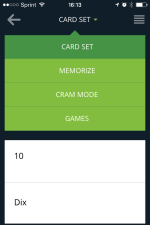 cram phone card set menu